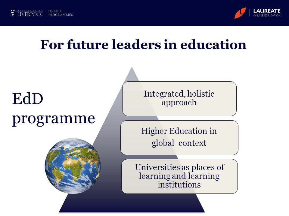 For future leaders in education Integrated, holistic approach Higher Education in global context Universities as places of learning and learning insti