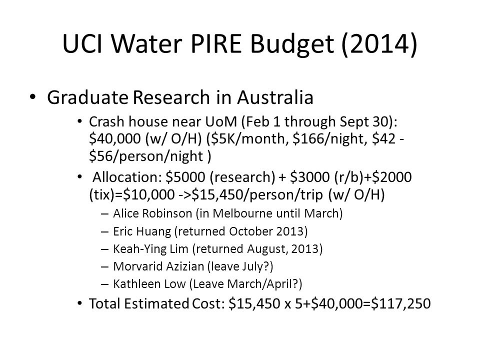 UCI Water PIRE Budget (2014) Graduate Research in Australia Crash house near UoM (Feb 1 through Sept 30): $40,000 (w/ O/H) ($5K/month, $166/night, $42 - $56/person/night ) Allocation: $5000 (research) + $3000 (r/b)+$2000 (tix)=$10,000 ->$15,450/person/trip (w/ O/H) – Alice Robinson (in Melbourne until March) – Eric Huang (returned October 2013) – Keah-Ying Lim (returned August, 2013) – Morvarid Azizian (leave July ) – Kathleen Low (Leave March/April ) Total Estimated Cost: $15,450 x 5+$40,000=$117,250