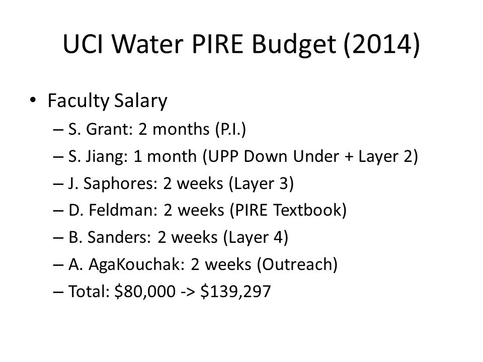 UCI Water PIRE Budget (2014) Conventional budget projection breakdown for 2014: