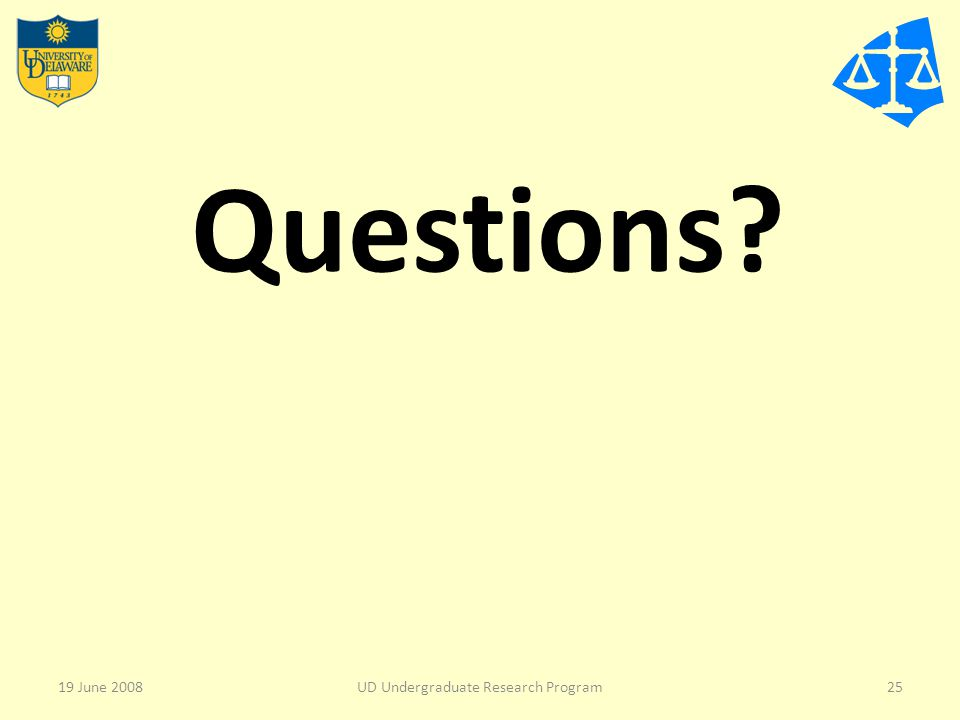 Questions? 19 June 2008UD Undergraduate Research Program25