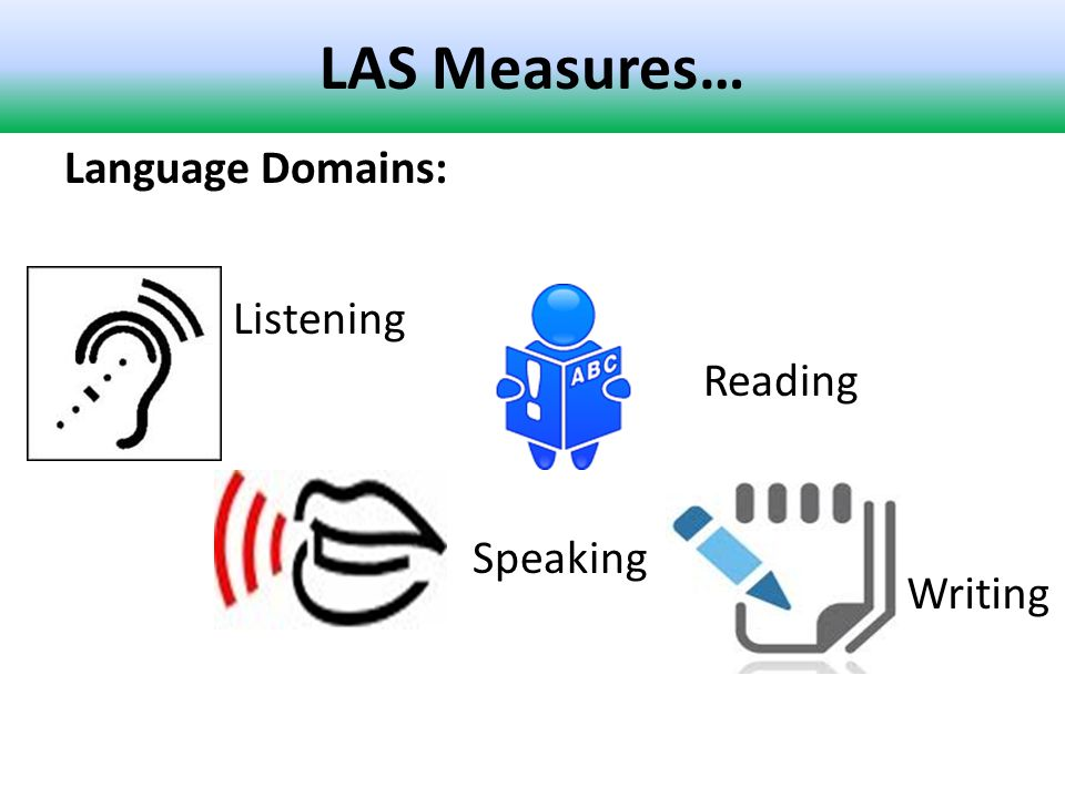 LAS Measures… Language Domains: Listening Speaking Reading Writing