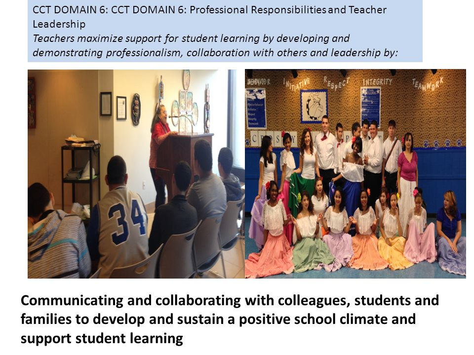 CCT DOMAIN 6: CCT DOMAIN 6: Professional Responsibilities and Teacher Leadership Teachers maximize support for student learning by developing and demonstrating professionalism, collaboration with others and leadership by: Communicating and collaborating with colleagues, students and families to develop and sustain a positive school climate and support student learning