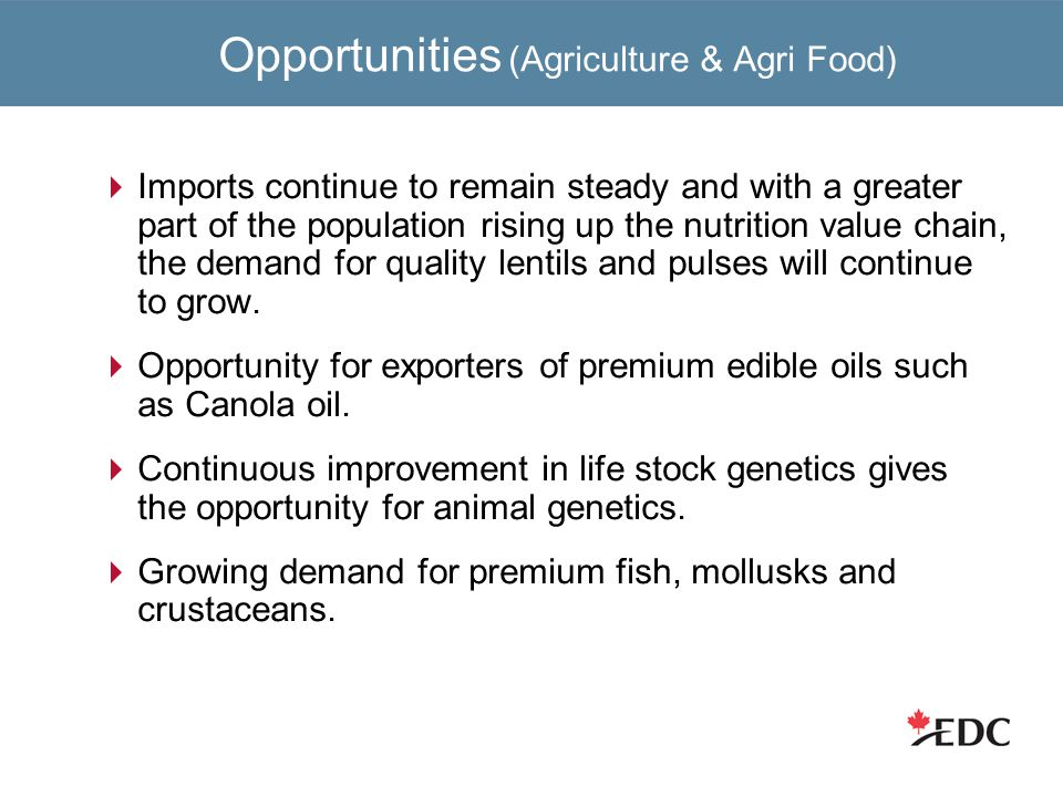 Opportunities (Agriculture & Agri Food)  Imports continue to remain steady and with a greater part of the population rising up the nutrition value chain, the demand for quality lentils and pulses will continue to grow.