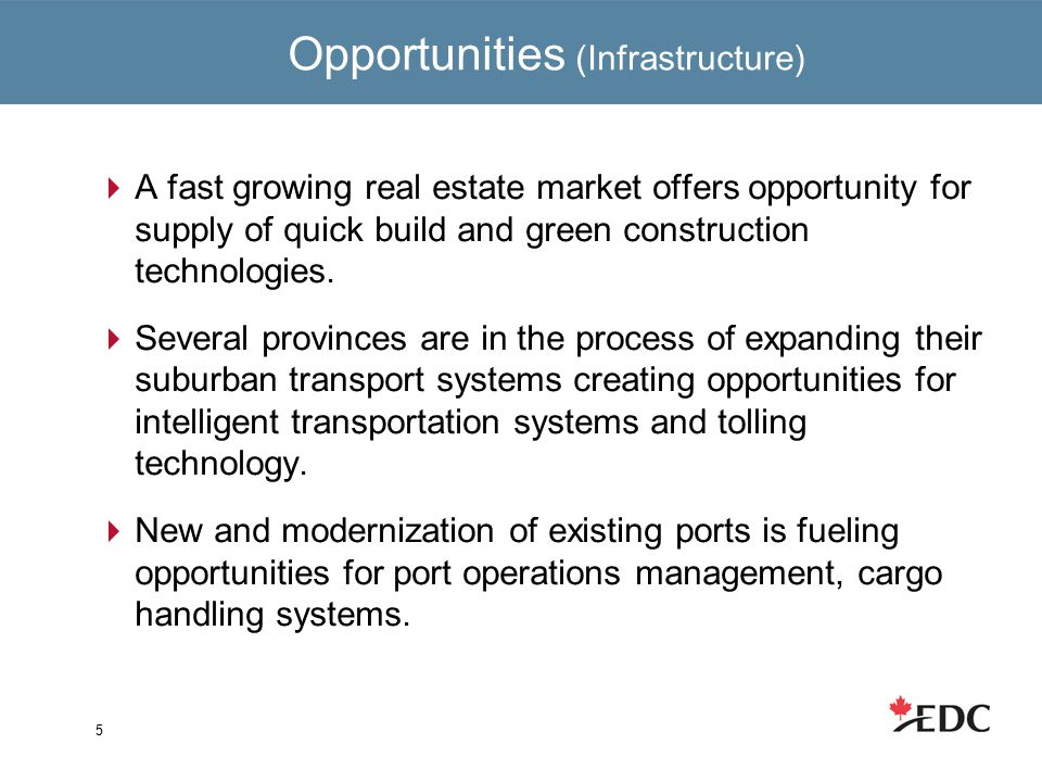 Opportunities (Infrastructure)  A fast growing real estate market offers opportunity for supply of quick build and green construction technologies.