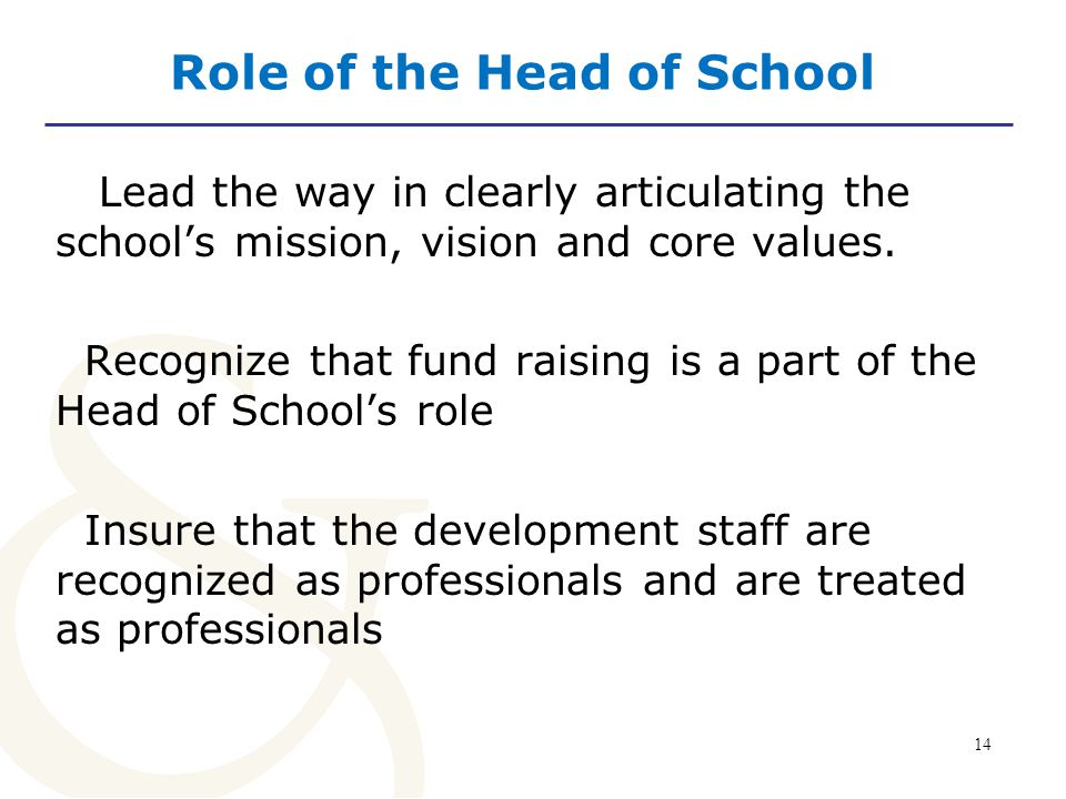 14 Role of the Head of School Lead the way in clearly articulating the school's mission, vision and core values.