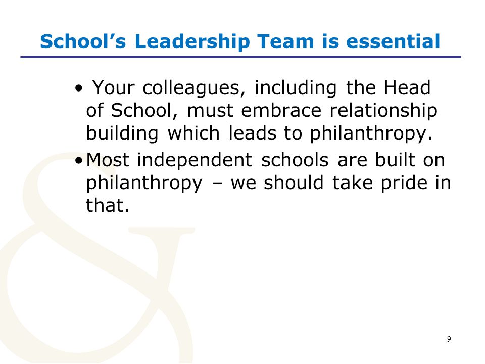 10 Steps we can take Everyone in your school is an ambassador for philanthropy.