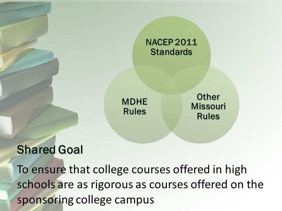 Shared Goal To ensure that college courses offered in high schools are as rigorous as courses offered on the sponsoring college campus NACEP 2011 Standards Other Missouri Rules MDHE Rules