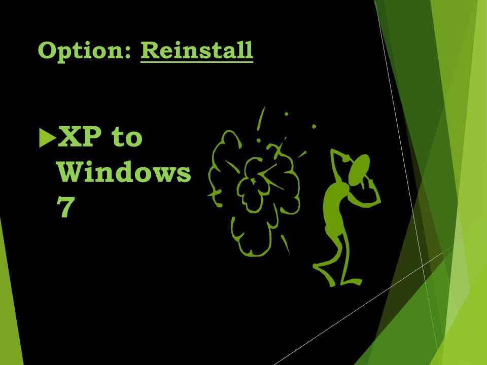 Option: Reinstall  XP to Windows 7