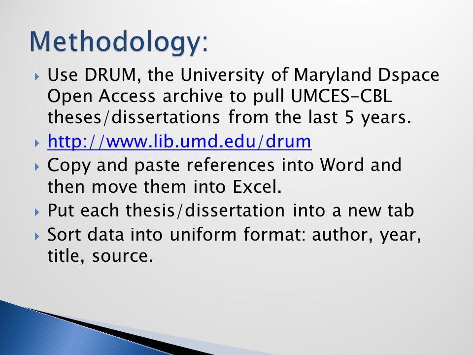  Use DRUM, the University of Maryland Dspace Open Access archive to pull UMCES-CBL theses/dissertations from the last 5 years.