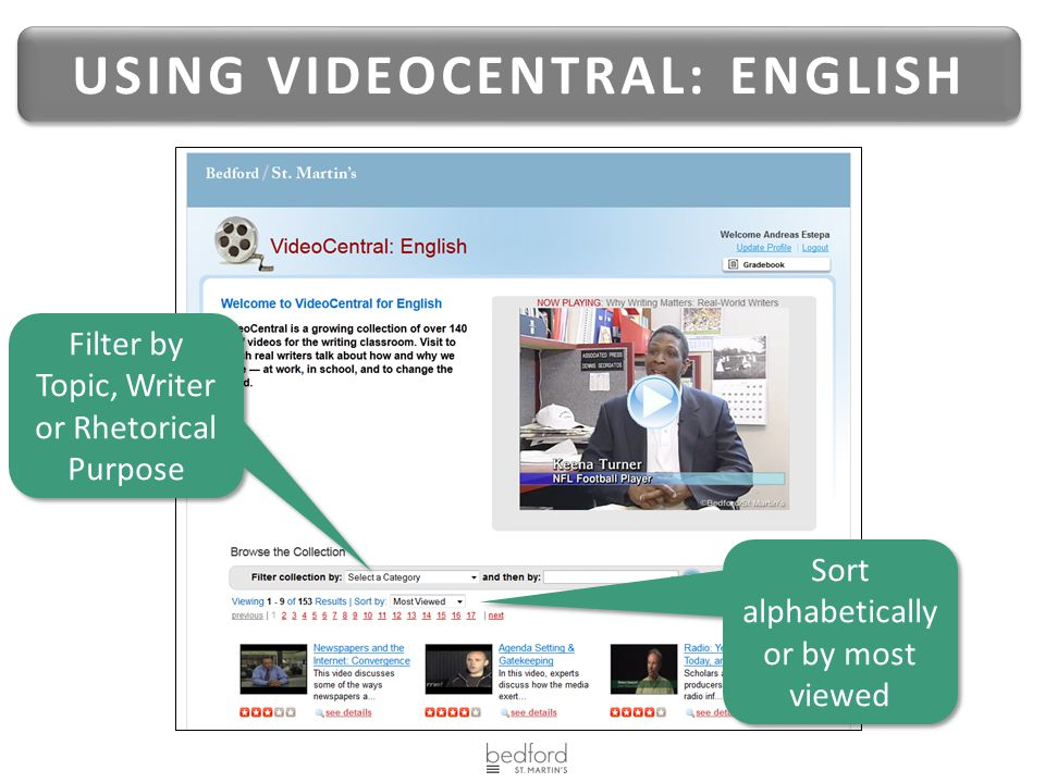 USING VIDEOCENTRAL: ENGLISH Filter by Topic, Writer or Rhetorical Purpose Sort alphabetically or by most viewed