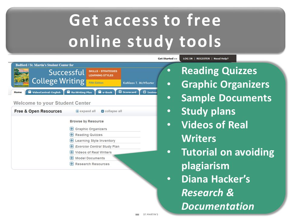 Get access to free online study tools Get access to free online study tools Reading Quizzes Graphic Organizers Sample Documents Study plans Videos of Real Writers Tutorial on avoiding plagiarism Diana Hacker's Research & Documentation