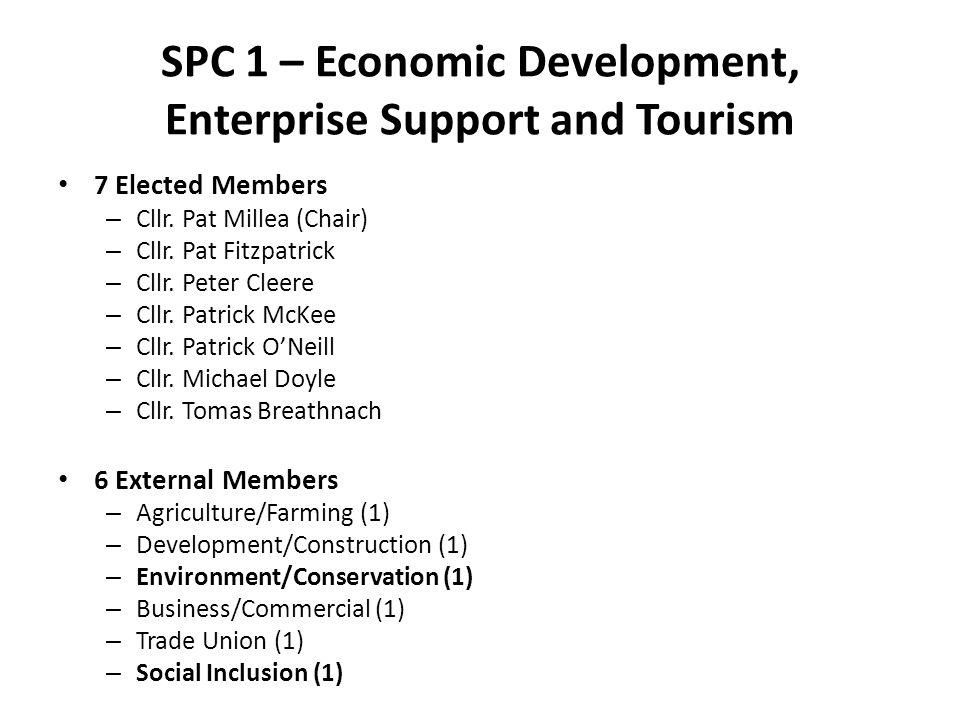 SPC 1 – Economic Development, Enterprise Support and Tourism 7 Elected Members – Cllr. Pat Millea (Chair) – Cllr. Pat Fitzpatrick – Cllr. Peter Cleere