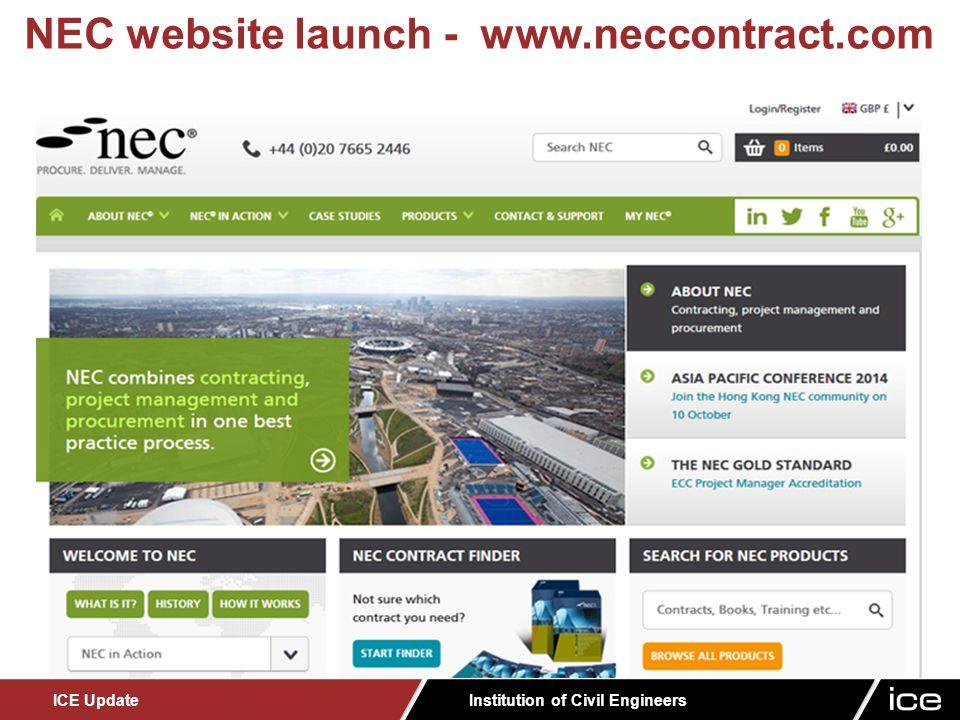 Institution of Civil Engineers ICE Update NEC website launch - www.neccontract.com