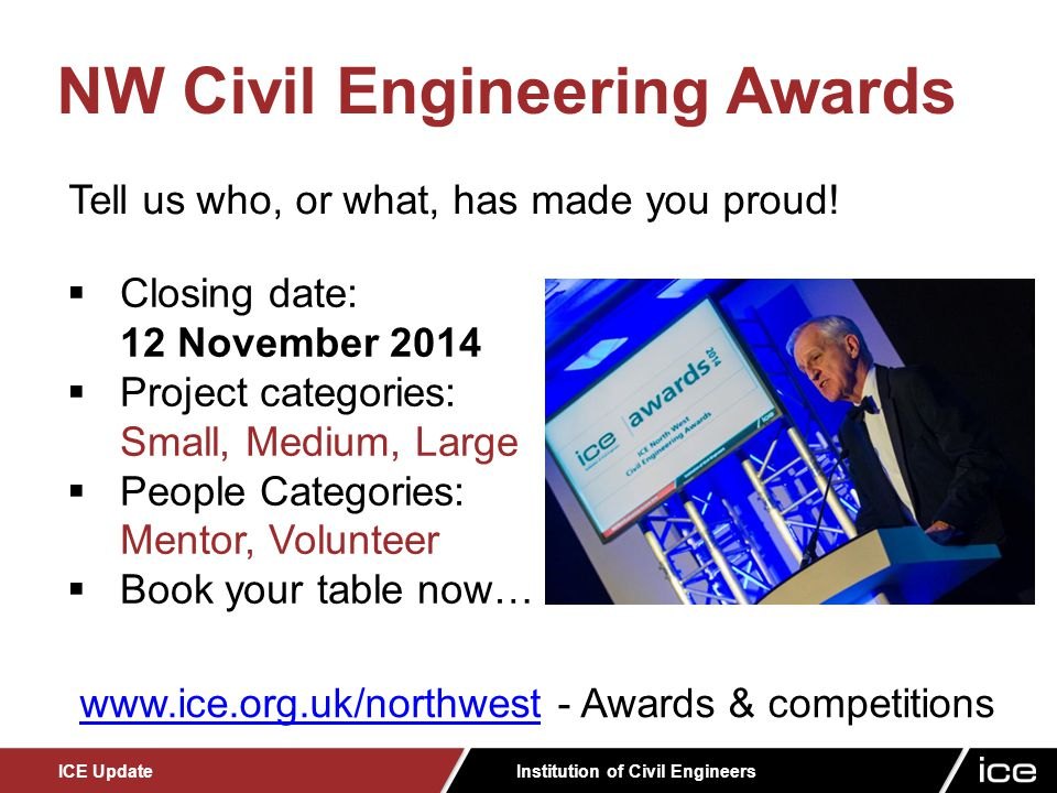 Institution of Civil Engineers ICE Update  Emerging Engineers Award - formerly known as the Papers Competition.