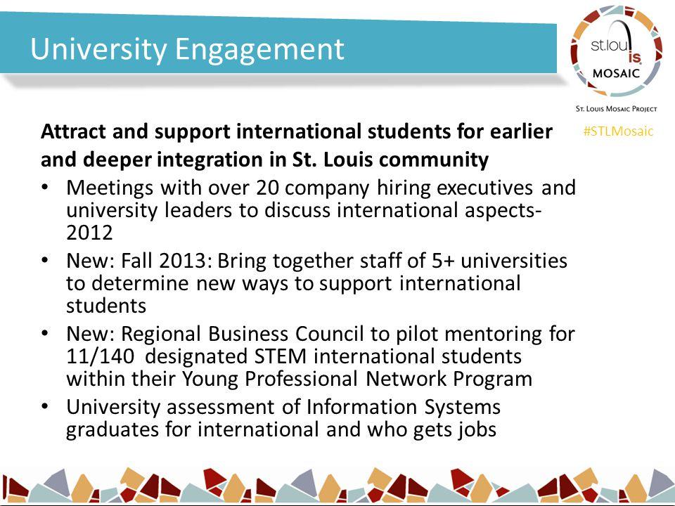 #STLMosaic University Engagement Attract and support international students for earlier and deeper integration in St.