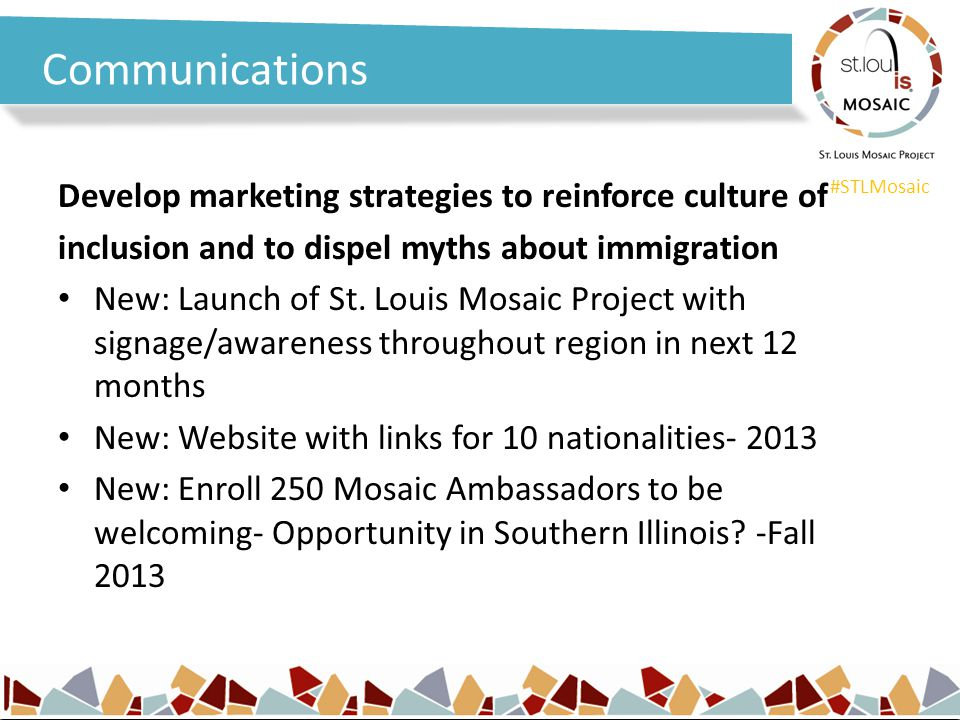 #STLMosaic Communications Develop marketing strategies to reinforce culture of inclusion and to dispel myths about immigration New: Launch of St. Loui