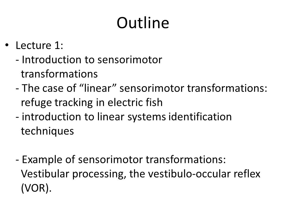 Outline Lecture 2: - Nonlinear sensorimotor transformations - Static nonlinearities - Dynamic nonlinearities