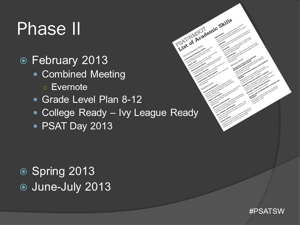 Phase II  February 2013 Combined Meeting ○ Evernote Grade Level Plan 8-12 College Ready – Ivy League Ready PSAT Day 2013  Spring 2013  June-July 20