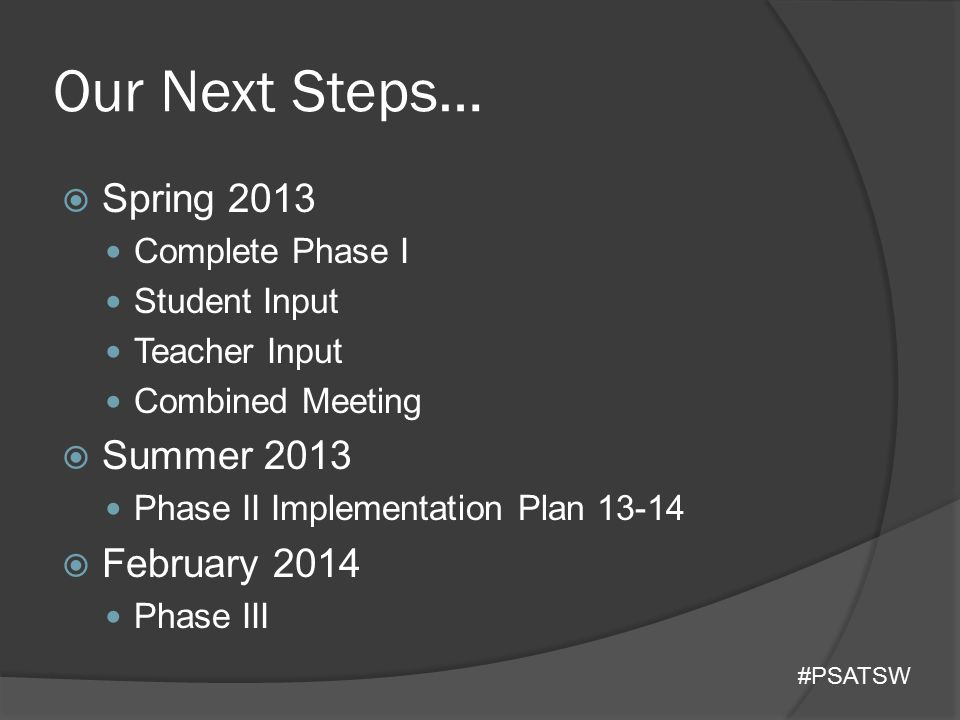 Our Next Steps…  Spring 2013 Complete Phase I Student Input Teacher Input Combined Meeting  Summer 2013 Phase II Implementation Plan 13-14  Februar