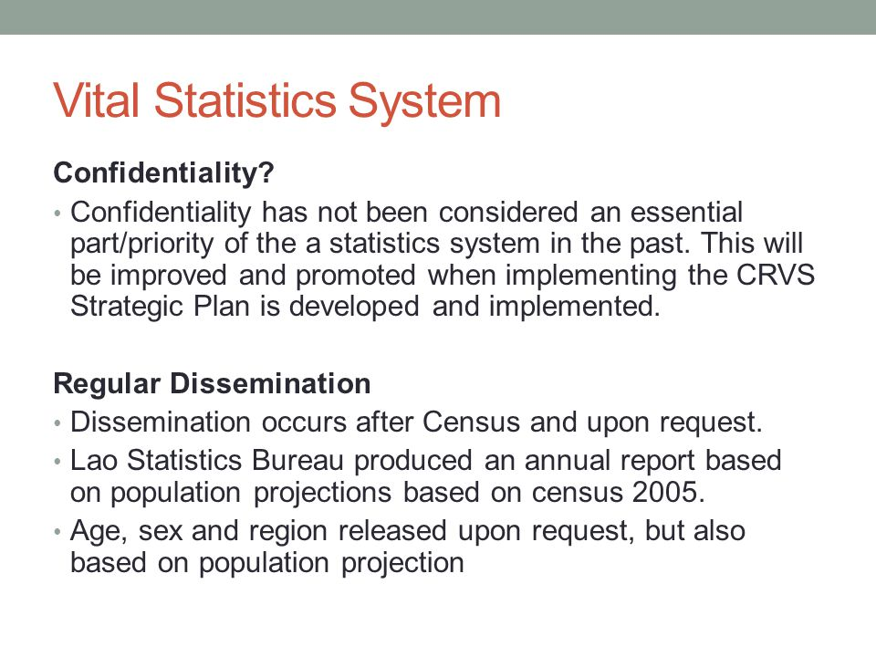 Vital Statistics System Confidentiality.