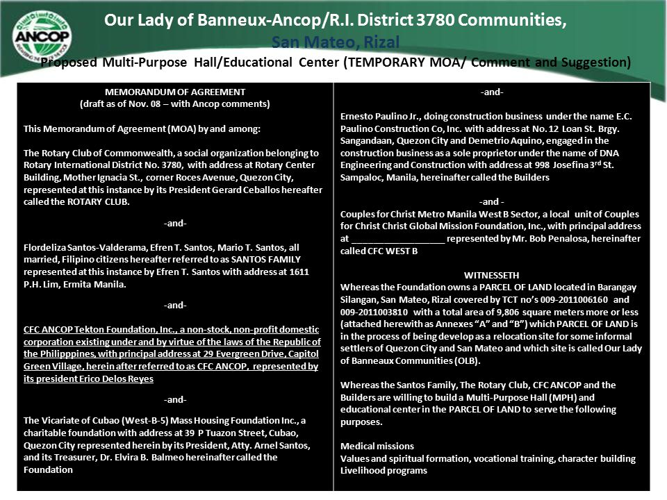 Our Lady of Banneux-Ancop/R.I. District 3780 Communities, San Mateo, Rizal Proposed Multi-Purpose Hall/Educational Center (TEMPORARY MOA/ Comment and