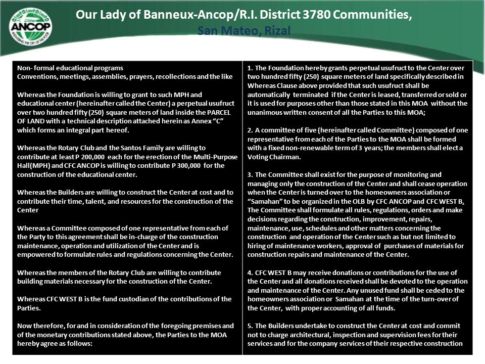 Our Lady of Banneux-Ancop/R.I. District 3780 Communities, San Mateo, Rizal Non- formal educational programs Conventions, meetings, assemblies, prayers