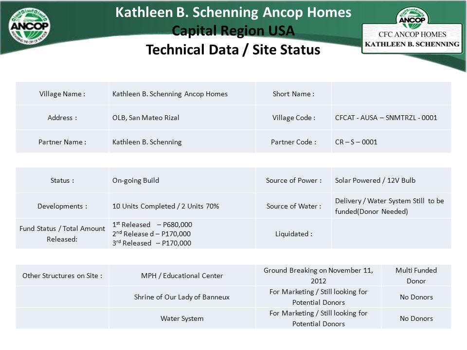 Kathleen B. Schenning Ancop Homes Capital Region USA Technical Data / Site Status Village Name : Kathleen B. Schenning Ancop HomesShort Name : Address