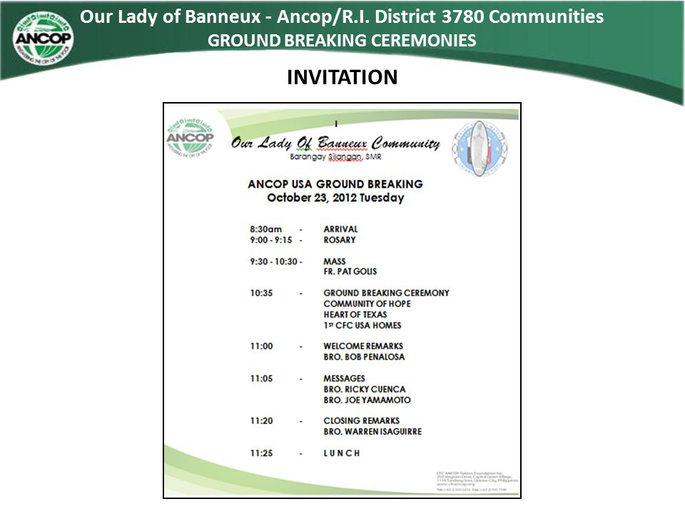 Our Lady of Banneux - Ancop/R.I. District 3780 Communities GROUND BREAKING CEREMONIES INVITATION