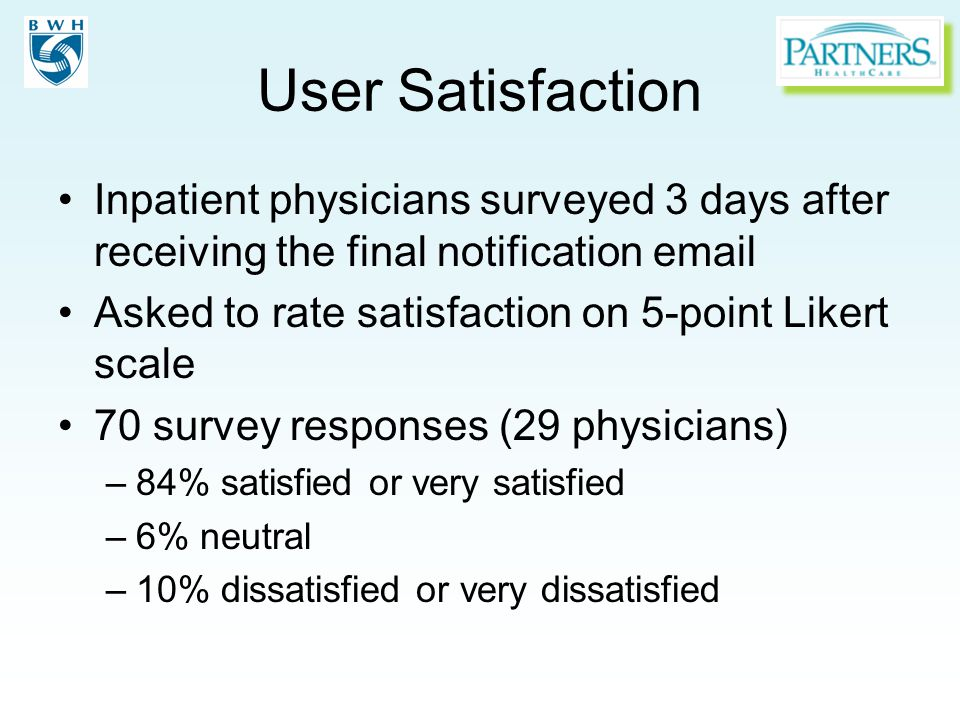 User Satisfaction Inpatient physicians surveyed 3 days after receiving the final notification email Asked to rate satisfaction on 5-point Likert scale