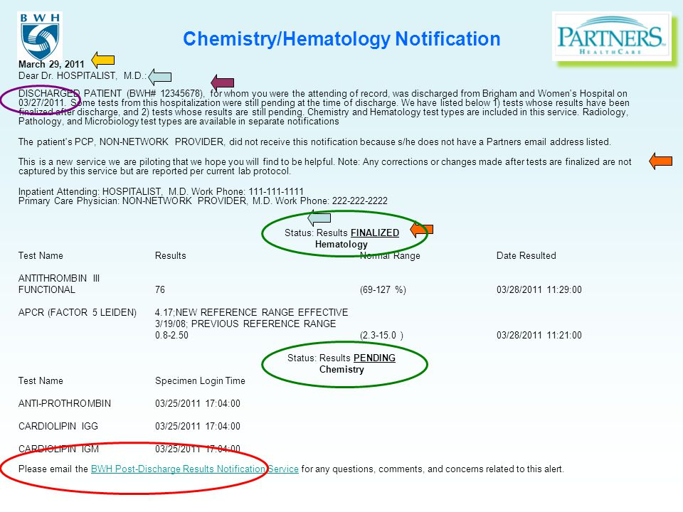 Chemistry/Hematology Notification March 29, 2011 Dear Dr. HOSPITALIST, M.D.: DISCHARGED PATIENT (BWH# 12345678), for whom you were the attending of re