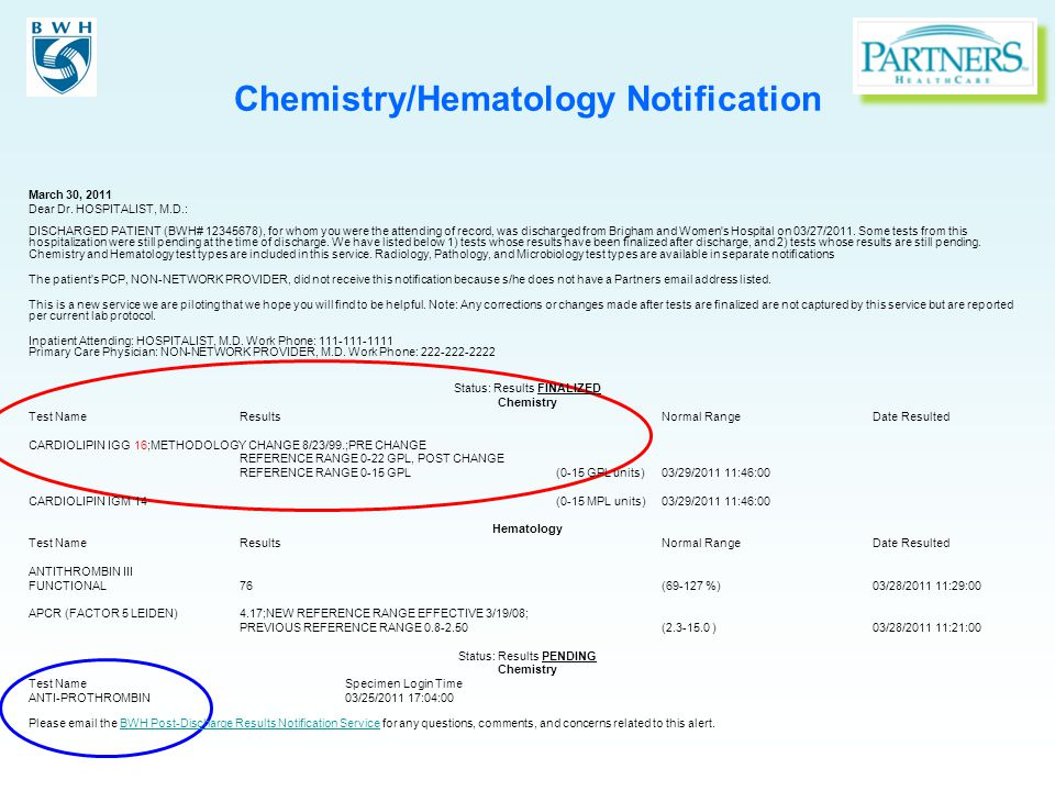 Chemistry/Hematology Notification March 30, 2011 Dear Dr.