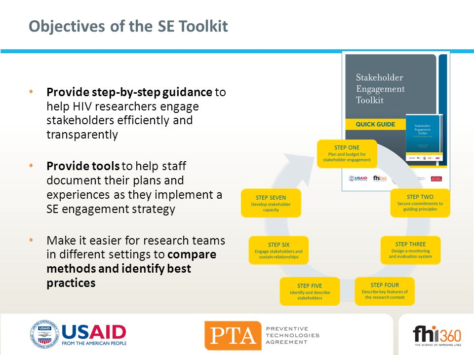 Objectives of the SE Toolkit Provide step-by-step guidance to help HIV researchers engage stakeholders efficiently and transparently Provide tools to