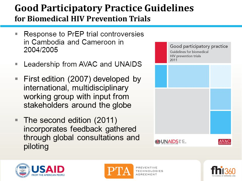 Good Participatory Practice Guidelines for Biomedical HIV Prevention Trials  Response to PrEP trial controversies in Cambodia and Cameroon in 2004/20