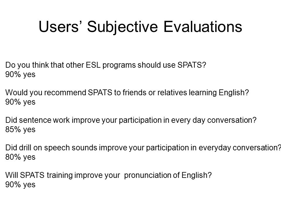 Users' Subjective Evaluations Do you think that other ESL programs should use SPATS.