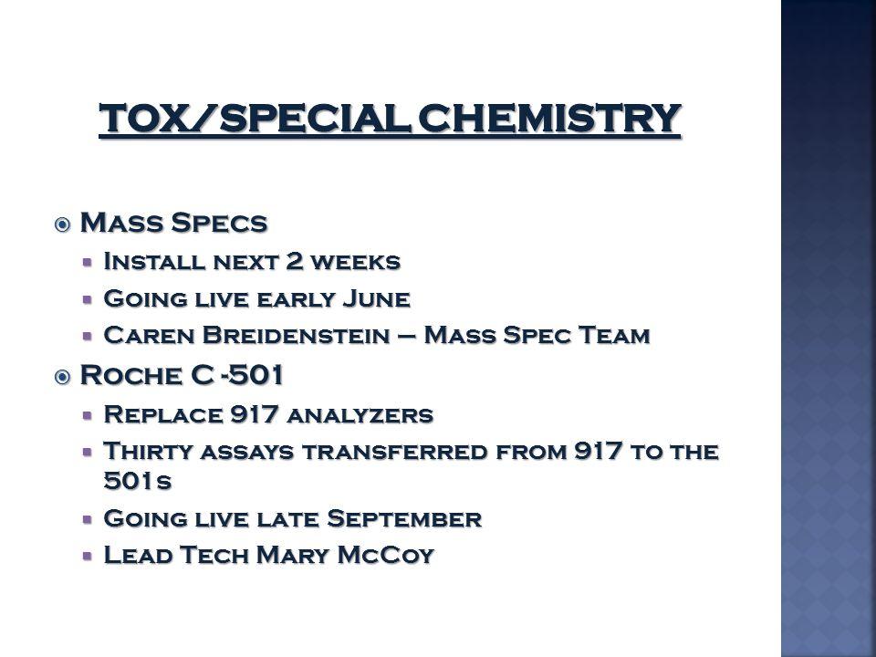  Mass Specs  Install next 2 weeks  Going live early June  Caren Breidenstein – Mass Spec Team  Roche C -501  Replace 917 analyzers  Thirty assa