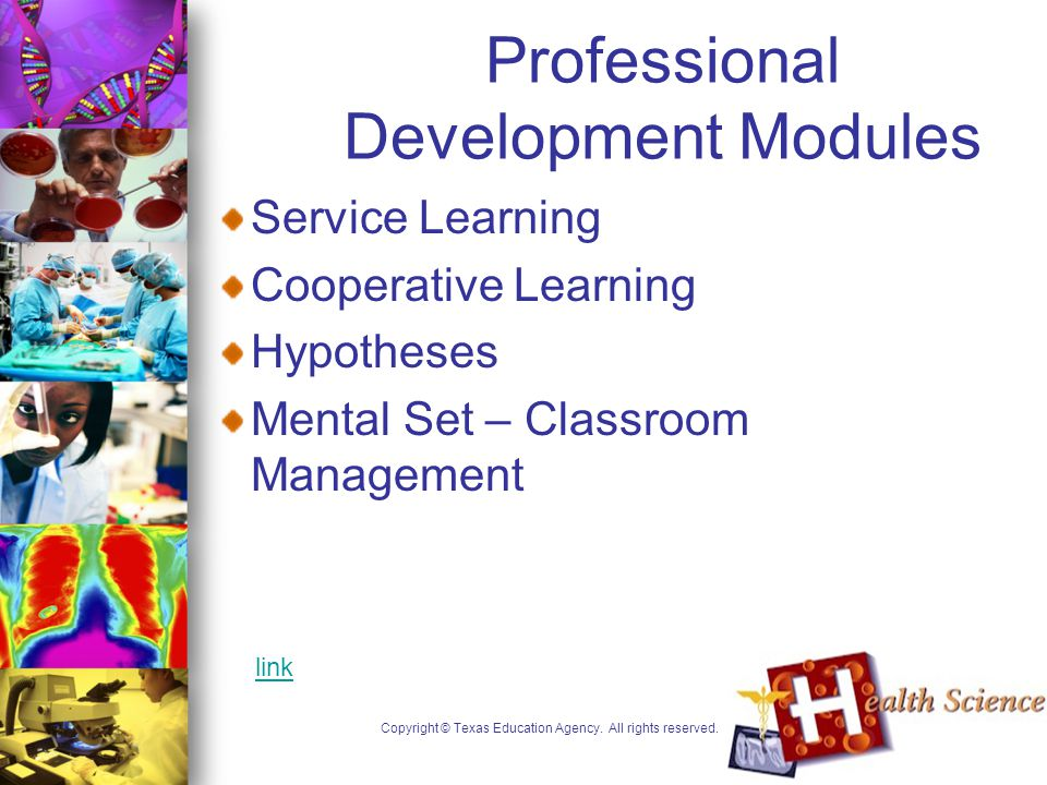 Professional Development Modules Service Learning Cooperative Learning Hypotheses Mental Set – Classroom Management Copyright © Texas Education Agency.