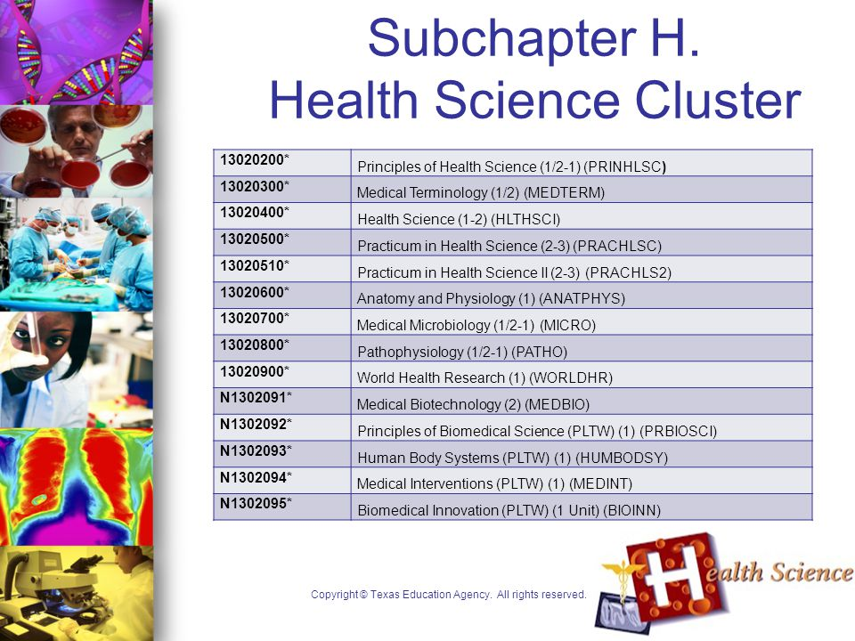 Subchapter H. Health Science Cluster Copyright © Texas Education Agency.