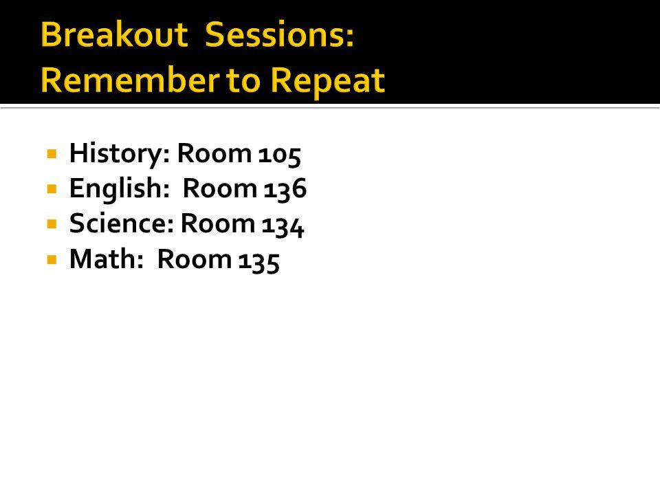  History: Room 105  English: Room 136  Science: Room 134  Math: Room 135