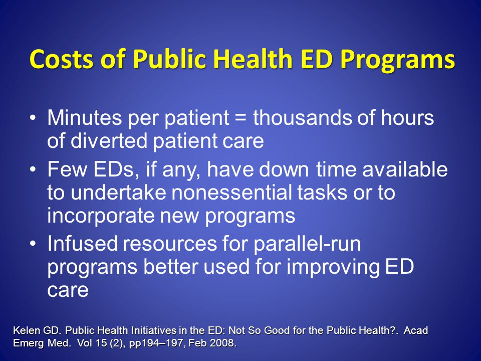 Costs of Public Health ED Programs Minutes per patient = thousands of hours of diverted patient care Few EDs, if any, have down time available to unde