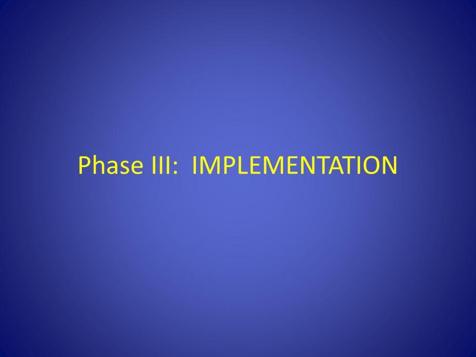 Phase III: IMPLEMENTATION