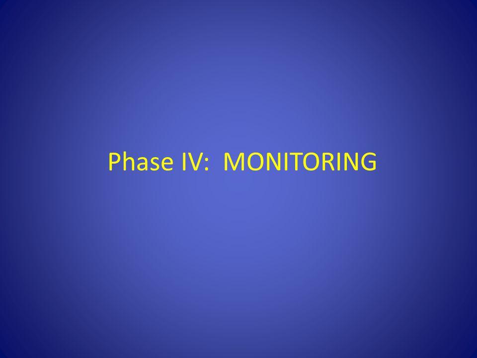Phase IV: MONITORING