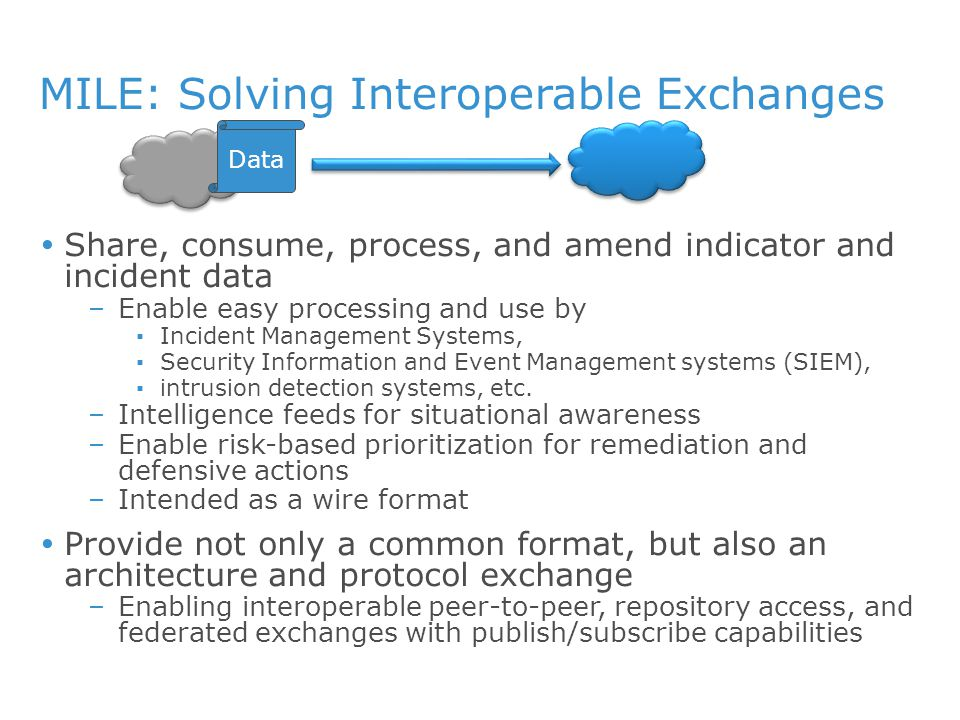 MILE: Solving Interoperable Exchanges  Share, consume, process, and amend indicator and incident data –Enable easy processing and use by ▪Incident Management Systems, ▪Security Information and Event Management systems (SIEM), ▪intrusion detection systems, etc.