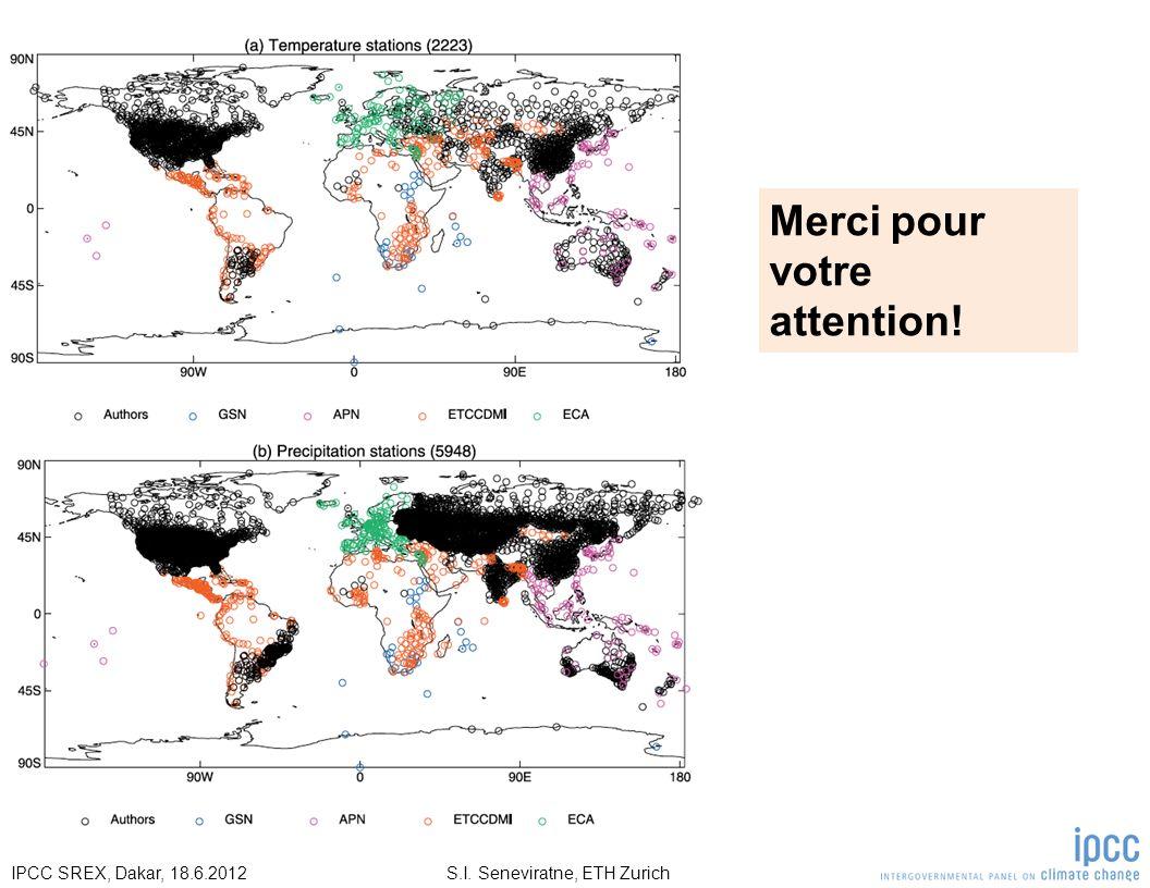 S.I. Seneviratne, ETH ZurichIPCC SREX, Dakar, 18.6.2012 Merci pour votre attention!