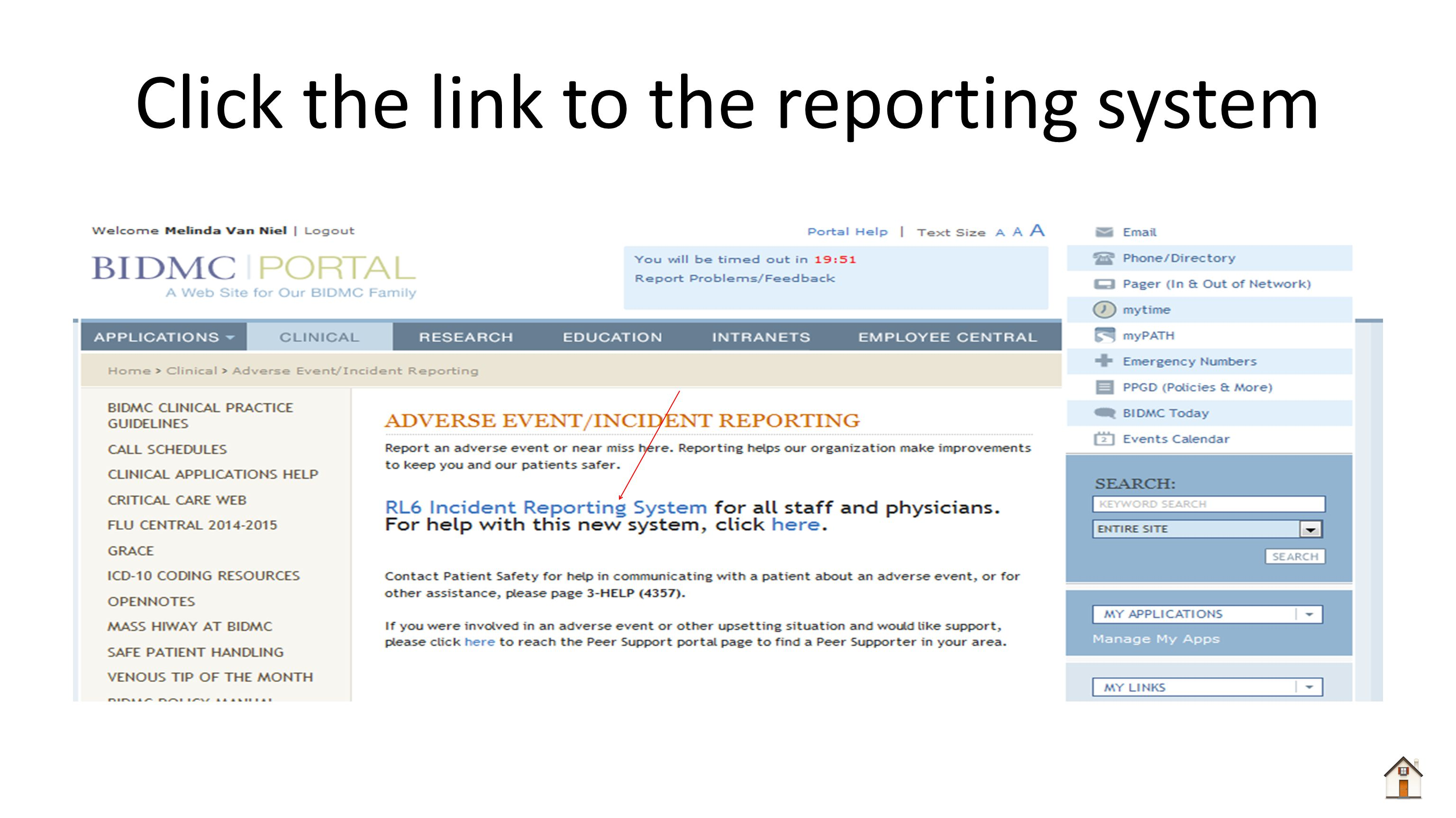 Click the link to the reporting system