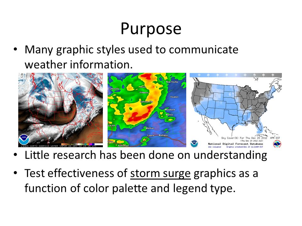 Many graphic styles used to communicate weather information.