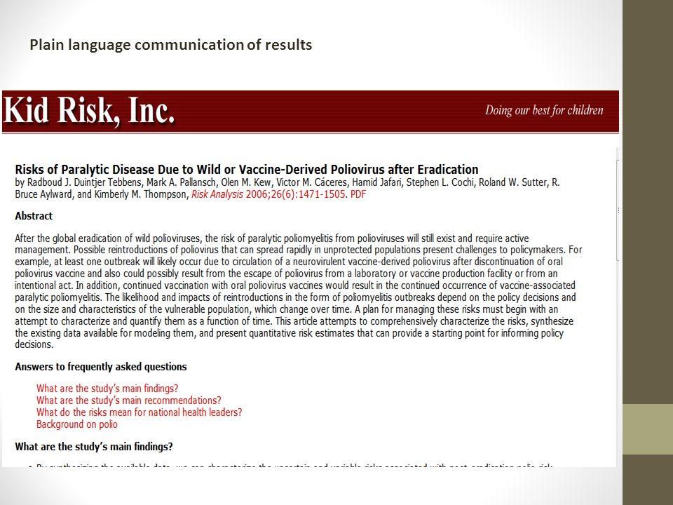 Plain language communication of results