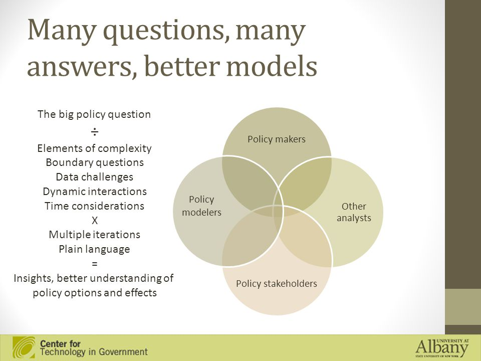Many questions, many answers, better models Policy makers Other analysts Policy stakeholders Policy modelers The big policy question ÷ Elements of complexity Boundary questions Data challenges Dynamic interactions Time considerations X Multiple iterations Plain language = Insights, better understanding of policy options and effects