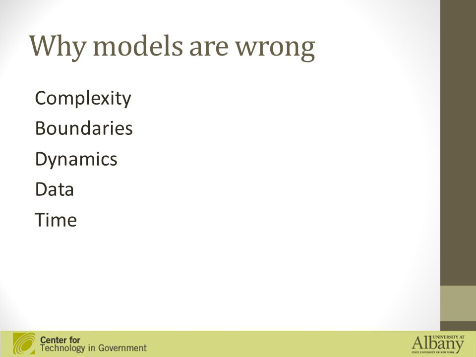 Why models are wrong Complexity Boundaries Dynamics Data Time