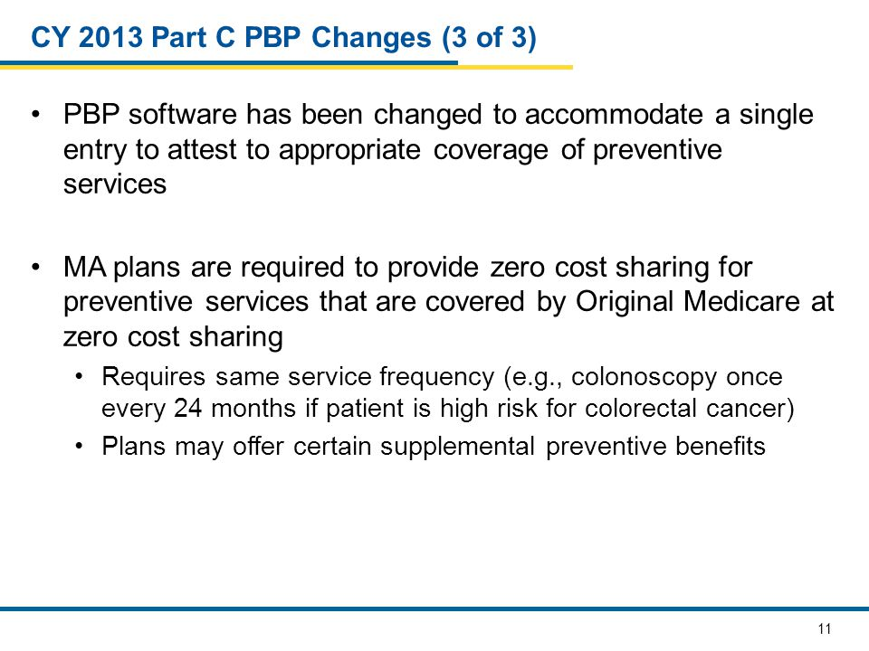 11 CY 2013 Part C PBP Changes (3 of 3) PBP software has been changed to accommodate a single entry to attest to appropriate coverage of preventive services MA plans are required to provide zero cost sharing for preventive services that are covered by Original Medicare at zero cost sharing Requires same service frequency (e.g., colonoscopy once every 24 months if patient is high risk for colorectal cancer) Plans may offer certain supplemental preventive benefits