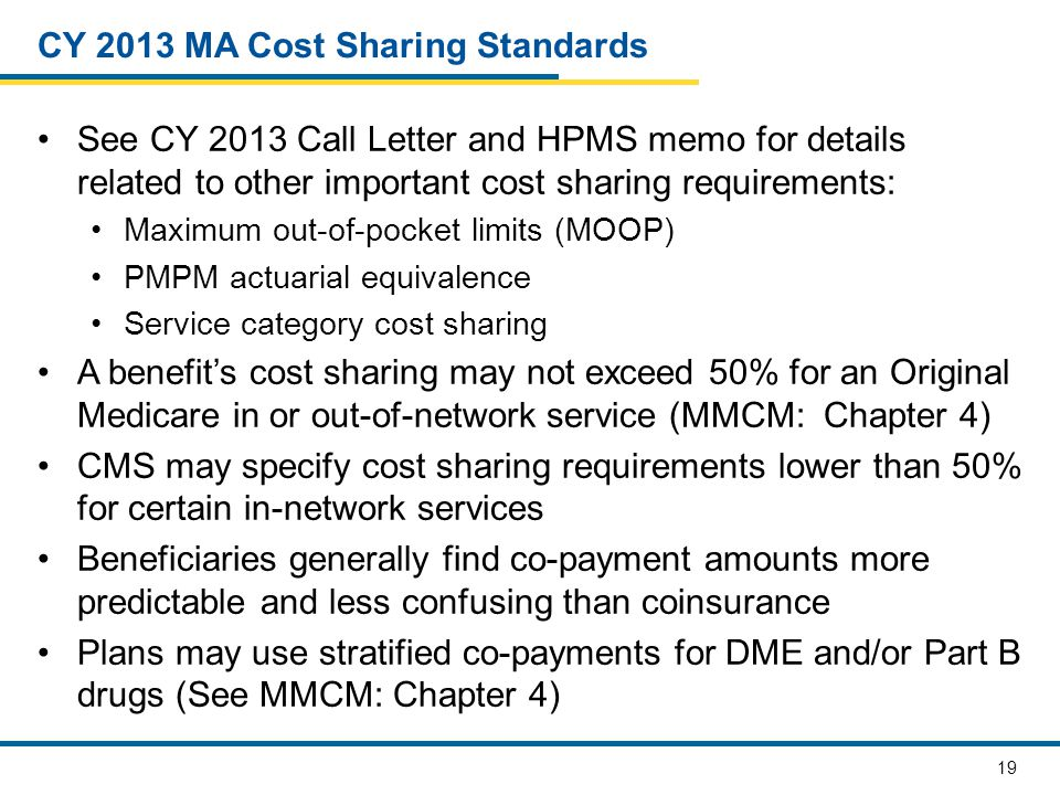 19 CY 2013 MA Cost Sharing Standards See CY 2013 Call Letter and HPMS memo for details related to other important cost sharing requirements: Maximum out-of-pocket limits (MOOP) PMPM actuarial equivalence Service category cost sharing A benefit's cost sharing may not exceed 50% for an Original Medicare in or out-of-network service (MMCM: Chapter 4) CMS may specify cost sharing requirements lower than 50% for certain in-network services Beneficiaries generally find co-payment amounts more predictable and less confusing than coinsurance Plans may use stratified co-payments for DME and/or Part B drugs (See MMCM: Chapter 4)